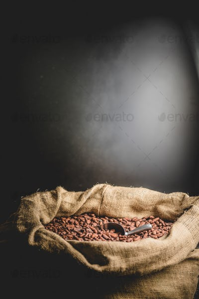 Canvas bag with delicious roasted cacao beans