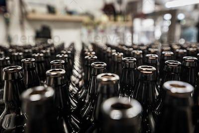 Glass bottles prepared for bottling