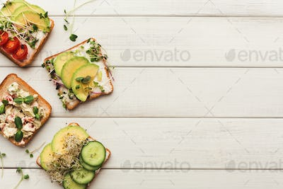 Variety of healthy vegetarian sandwiches