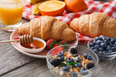Fresh crusty croissants and orange juice for morning meals