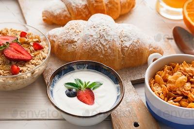 Traditional french breakfast menu closeup