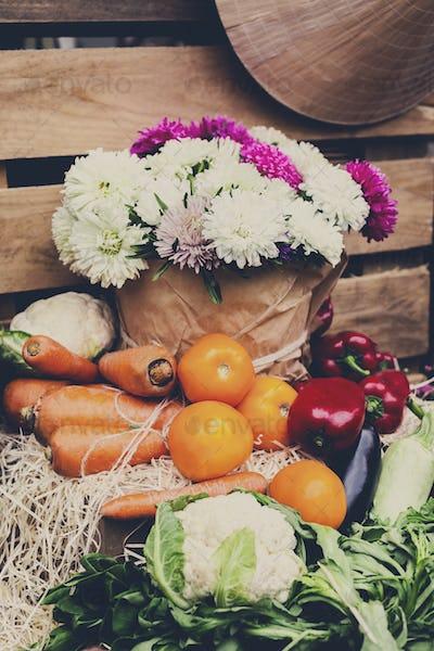 Organic farmers food market, fresh products