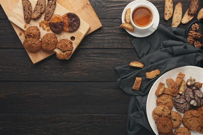 Oatmeals cookies and biscotti for warm winter evening