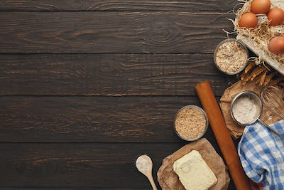Cooking ingredients for dough background with copy space