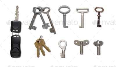 Set of keys isolated at white background