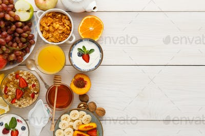 Continental breakfast menu on woden table