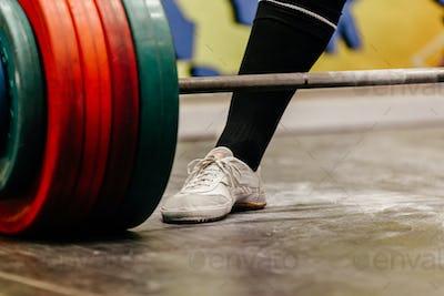 closeup leg male powerlifter