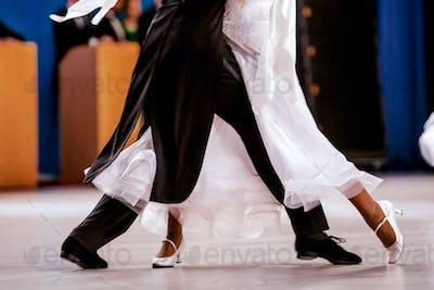 pair athletes dancers ballroom dancing