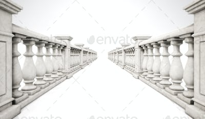 3d rendering marble ballustrade row with steps on a white backgr