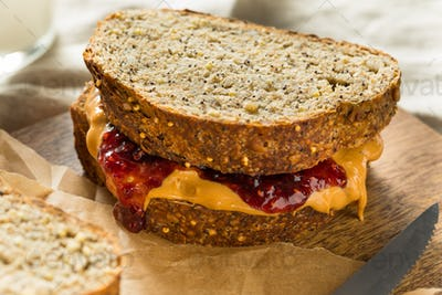 Sweet Homemade Gourmet Peanut Butter and Jelly Sandwich