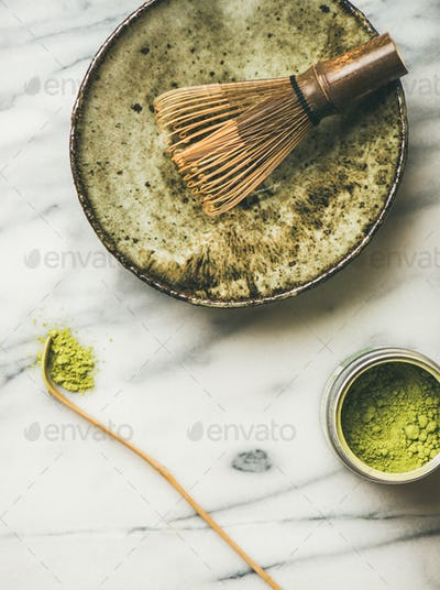 Japanese tools and bowls for brewing matcha tea, copy space