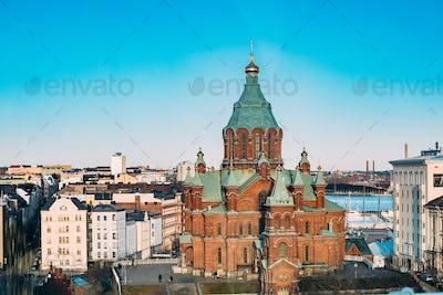 Helsinki, Finland. Uspenski Cathedral On Hill At Winter Sunny Da