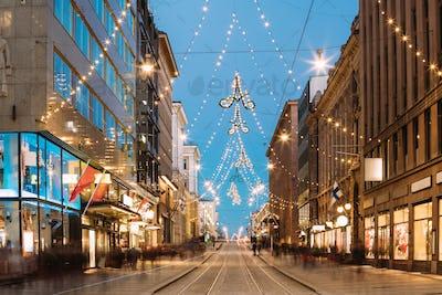 Helsinki, Finland. Night View Of Aleksanterinkatu Street With Ra