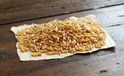 Pile of Kamut grain on wooden background