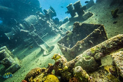 Shipwreck underwater at the depth in Caribbean.