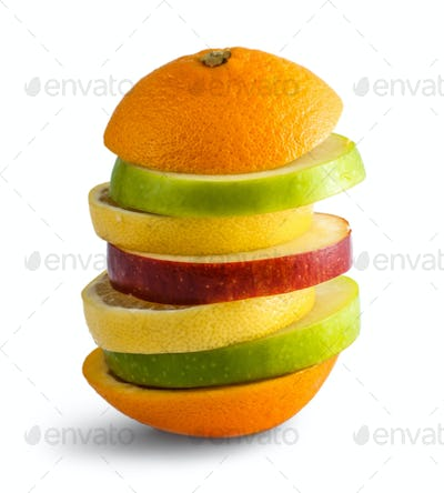 stack of mixed slices of fruits