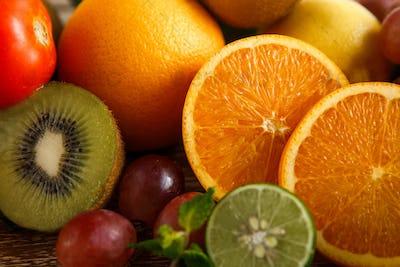 fresh mixed tropical fruits