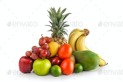 Assortment of tropical fruits isolated on white background