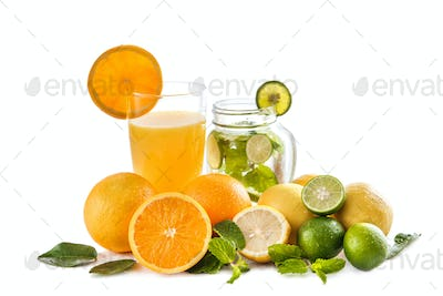 fresh orange juice and classic mojito with orange, lime, and min