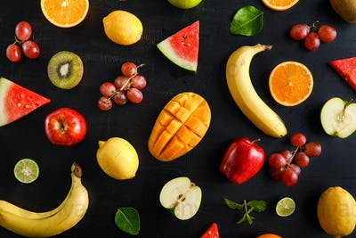fresh mixed tropical fruits pattern