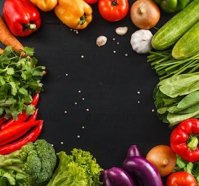 square frame made from fresh vegetables