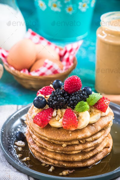 Perfect pancakes with fresh forest fruits