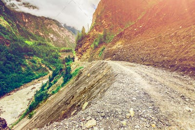 Mountains road and river