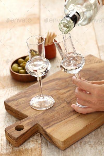 two glasses of  Grappa bianca, italian digestif