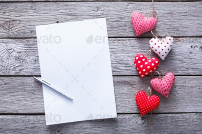 Valentine day letter background, hearts bunch on wood