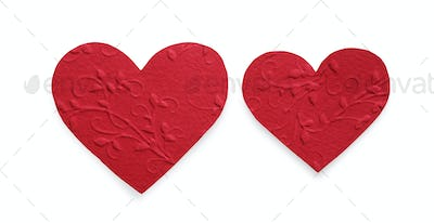 Red felt hearts isolated on white background, valentine day