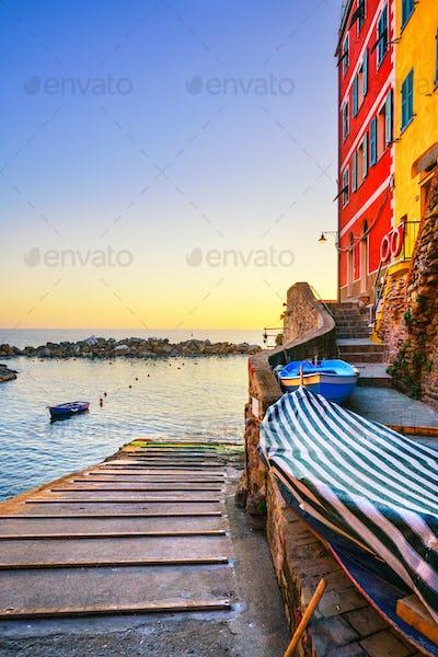 Riomaggiore village, boats and sea. Cinque Terre, Ligury, Italy.