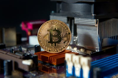 Gold Bitcoin electronic computer processor board