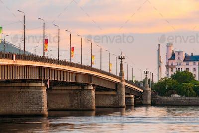 Riga, Latvia. Akmens Tilts - Stone Bridge Street At Sunset, Sunr