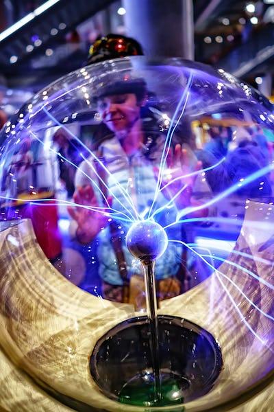Closeup view of plasma ball