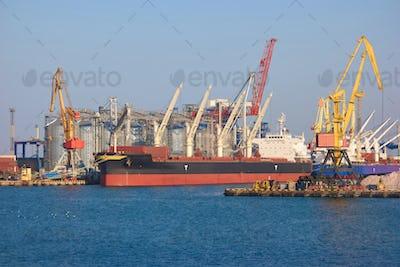 Freight ship near sea port.