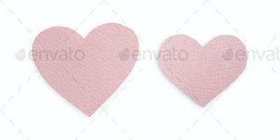 Light lilac paper hearts isolated on white background, valentine day