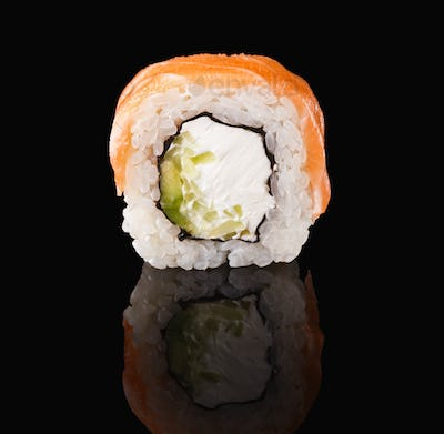 Japanese roll on black mirroring background