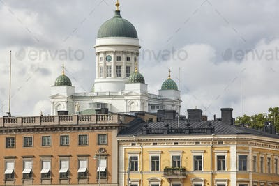 Helsinki city center skyline with Tuomiokirkko cathedral. Travel Finland. Horizontal