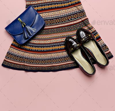 Top view. Fashionable dress ornament and accessories. Clutch and