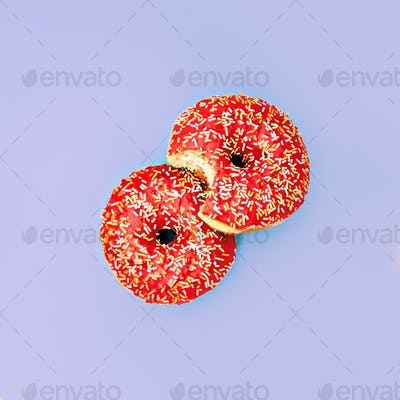 Donuts. Surreal minimal creative art