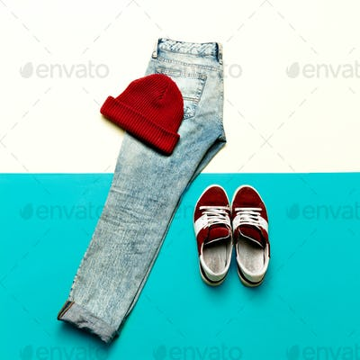 Jeans and sneakers. Cap. Urban sports fashion style