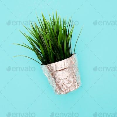 Flower in a pot. Plastic style minimal art