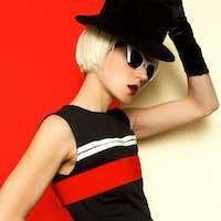 Sexy Blonde Lady retro style Minimal Fashion Art Cabaret