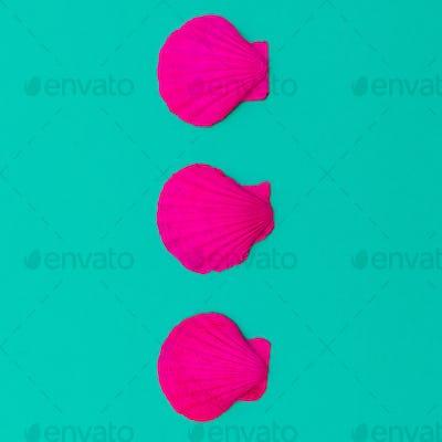 Pink neon shells. Minimal design