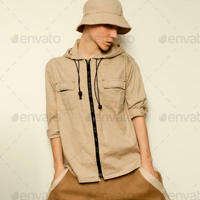 Beige Fashion And Accessories. Panama and jacket. Hip Hop Street