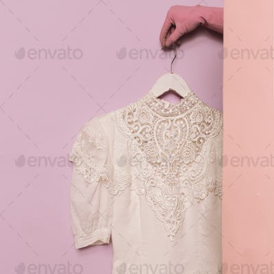 Stylish clothes. White vintage blouse. Lace. Ideas wardrobe fash