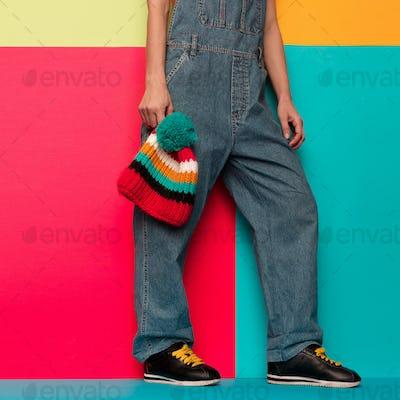 Stylish overalls. Urban. Skateboard snowboard wear. Sneakers Min