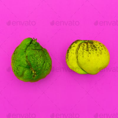 Couple Ugly lime and lemon. Minimal art