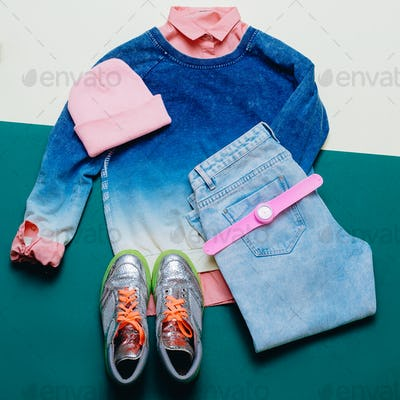 Urban Outfit Trendy sportswear. Denim clothing, shoes, fashion a