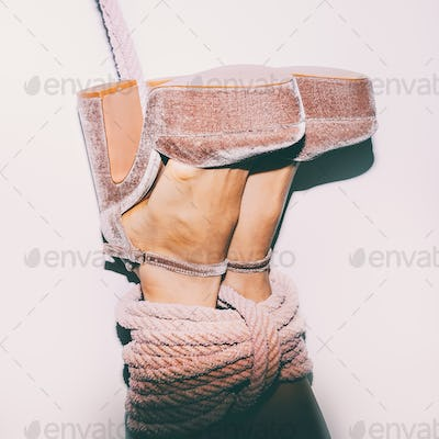 Sexy heel legs tied with a rope. Time for Games